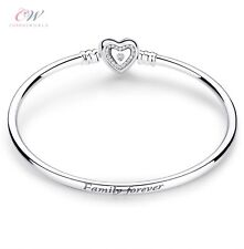 Family Forever Charm Bangle Bracelet 925 Silver - Crystal Heart Clasp 💞