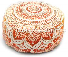 Decorative Round Seating Ottoman Pouf Cover Indian Mandala Footstool Pouffe Case
