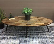 LARGE PARQUETRY OVAL COFFEE TABLE WINE SIDE LAMP TIMBER TOP ROUND 140CM