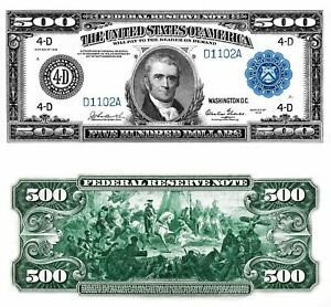 Reproduction US $500 Dollar Bill, Series 1918  / Large Size / High Resolution