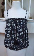 Free People Rayon Purple/Black/Gray/White Floral Pattern Camisole Tank Top Sz XS