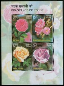 INDIA 2007 MNH SS, Rose Fragrance, Roses, Flowers, Odd, unusual Stamps
