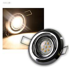 Set LED CROMADO Iluminación Empotrada 5 focos orientable Blanco Cálido SMD LEDS