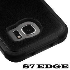 For Samsung Galaxy S7 Edge - FULL BLACK Hybrid Armor Shockproof Skin Case Cover