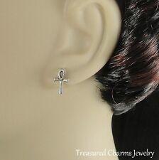ANKH EARRINGS - 925 Sterling Silver Post Stud Earrings - Egyptian Symbol *NEW*