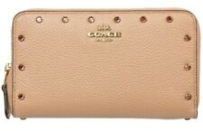 COACH~Leather CRYSTAL BORDER RIVETS Accordion Zip Wallet~38868 ~NUDE PINK~ $225