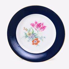 """W Porzellan Echt Weimar Kobalt Blue Tulip Gilded Floral Dinner Plate 10.5"""""""