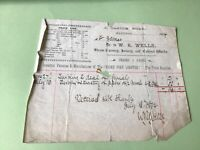 W.R.Wells Hastings Steam Turnery Joinery & Cabinet Works 1894 receipt Ref 49680