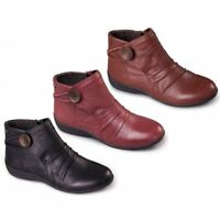 Padders CARNABY Ladies Womens Leather Extra Wide (2E) Zip Up Warm Ankle Boots