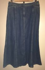 Women's Charter Club Blue Denim Shirt  • Modest No Slit • Size 8 Mermaid Hemline