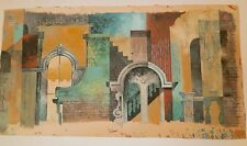 "Old City Buildings Abstract-17 x 30"" Painting-1960s-William Gorman-Listed N.J."