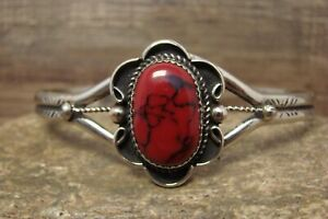 Native American Jewelry Nickel Silver Red Howlite Bracelet by Phoebe Tolta