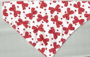Small Dog/Cat  Scarf/ Bandana ...Valentine's Day/White w/ red bows print!!!!!!