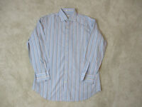 Peter Millar Button Up Shirt Adult Large White Blue Striped Office Casual Mens