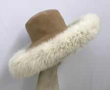 KOKIN HAT WINTER WHITE FOX FUR AND CAMEL TONE LARGE BOLD DRAMATIC