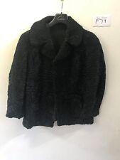 """SWAKARA Vintage Femmes véritable manteau de fourrure en Noir aisselle/aisselle 19"""" Longueur 30"""" (f39)"""
