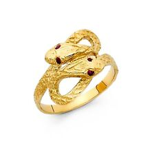 CZ Snake Ring Solid 14k Yellow Gold Serpent Band Curve Stylish Fancy Double Head