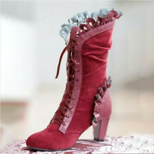 Women's Mid Calf Block Heels Boot Lace Up Boots Fashion Round Toe Shoes Clubwear