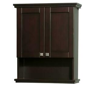Bathroom Storage Cabinet Wood 1-Shelf 2-Door Wall Mount Water-Resistant Espresso