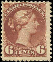 Mint H Canada F+ Scott #43 6c1888-1897 Small Queen Issue Stamp