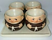 VINTAGE WESTERN GERMANY GOEBEL FRIAR TUCK MONK FOUR LIQOUR CUPS WITH TRAY