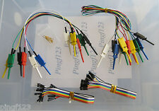One Lot mini grabber  IC test clip jumpers w 200mm F/F, M/F ribbon wires & pins