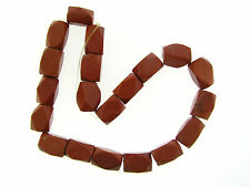 NOS Chunky Faceted Geometric Nugget Sparkly Gold Stone Goldstone Bead Strand Lot