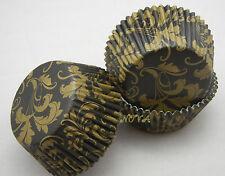 100 matte gold damask leaf  black cupcake liners baking paper cup muffin case