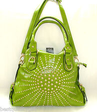 NEW-DS GREEN GLOSS LEATHERETTE+CRYSTAL+GOLD STUDS SATCHEL,PURSE,BAG+CROSSBODY