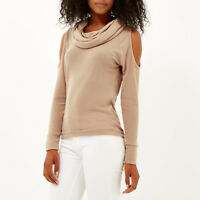 Ex RIVER ISLAND Ladies Cowl Neck Cold Shoulder Jumper BEIGE Size 6 -18