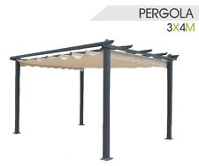 PERGOLA GAZEBO VERANDA GIARDINO IN ACCIAIO 300x400x230H CM TELO RETRATTILE PVC