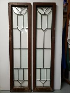 ANTIQUE FULL BEVELED GLASS WINDOW PAIR ARCHITECTURAL SALVAGE