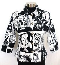 Kaktus Picasso Faces 3/4 Sleeve Black and White Lightweight Jacket Casual Career