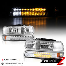 99-02 Chevy Silverado Pickup Truck Chrome Headlights+LED Bumper Signal Lamps Set