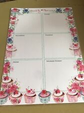 Laminated Weekly Planner Pink Cup Cakes  (24) Includes Free Chart