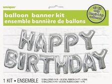 Argento Happy Birthday LETTERA PALLONCINI Banner Kit -
