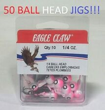 50 Eagle Claw 1/4oz. Double-Eye Pink/Pearl Ball Head Jigs (JB0614AH) EB040303