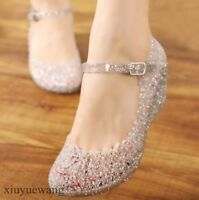 Ladies Rubber Crystal Glitter Hollow Jelly Ankle Strap Wedge Heel Beach Sandals
