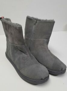 Toms youth nepal boots grey suede size 4 NEW