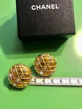 Chanel Earrings Gold Vintage Large With Diamondate