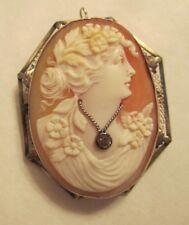 Vintage 14K Gold Cameo Pendant / Brooch  old mine Cut Diamond=.15 Carat 38X48 MM