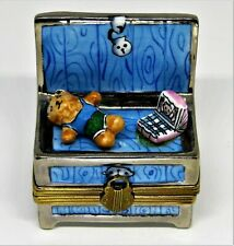 LIMOGES BOX ~ BABY FURNITURE ~ CHILD'S TOY CHEST ~ DOLL & CRADLE ~ TEDDY BEAR