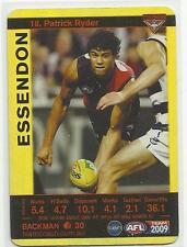 2009 AFL TEAMCOACH ESSENDON Patrick Ryder 18 GOLD CARD
