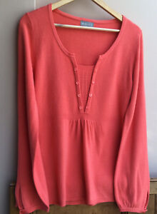 Women's Coral Long Sleeved Jumper/Tunic/Top size 12uk Per Una M&S