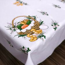 Easter Tablecloth White Eggs Chicks Pattern Oblong Rectangle Small Medium Large