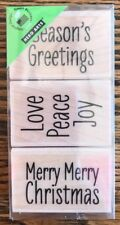 """Hero Arts """"Merry Merry Christmas"""" Wood Mounted Rubber Stamps Set Of 3 *NEW*"""