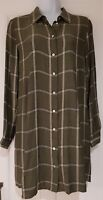 Womens Zara Long Sleeve Khaki Silver Check Long Smock Grunge Shirt Blouse Top XS