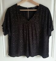 Madewell Womens Oversized Black Metallic Dot Rhyme Blouse Top Shirt Size Small