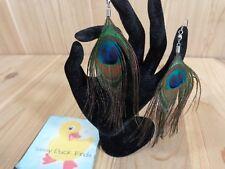 """Peacock Feather Earrings Brown Green Blue Eye 5"""" Hook One Pair"""