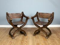 Pair of Early 20th Century Italian Oak & Leather X-Frame Armchairs